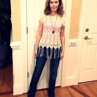 #crochettop #bootcutjeans #weekendlook #bohemianstyle #hippie #70sstyle #summerstyle