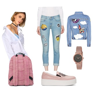 denim with Pink