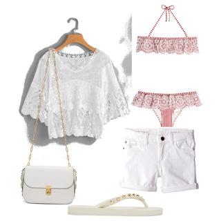 White Beach Outfit #white #beach #outfit #pink #bikini #valentino