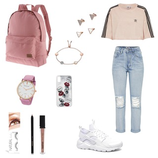 #adidas #boyfriendjeans #nike #sonmeroutfit #outfit #lippenstift #fakewimpern #uhr #rucksack #ohrringe #armband 💍