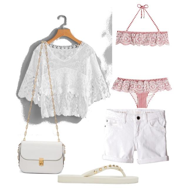 White Beach Outfit #white #beach #outfit #pink #bikini #valentino - Style