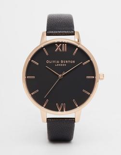 Olivia Burton - OB15BD66 – Uhr mit großem Zifferblatt und Lederarmband in Schwarz und Roségold