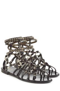 Balmain - Embellished Leather Sandals