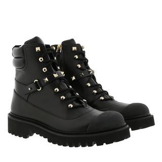 Valentino - Boots - Combat Booties Leather Black - in schwarz - für Damen