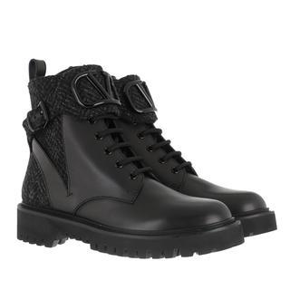 Valentino - Boots - V Logo Animations Combat Boot Nero Grigio - in schwarz - für Damen