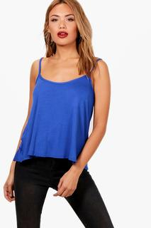 boohoo - Womens Basic Swing Cami - blue - 4, Blue