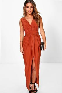 boohoo - Womens Petite Plunge Drape Maxi Dress - Orange - 4, Orange