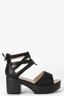 boohoo - Womens Lace Up Two Part Cleated Sandals - black - 4, Black