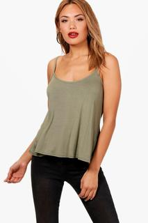 boohoo - Womens Basic Swing Cami - green - 14, Green