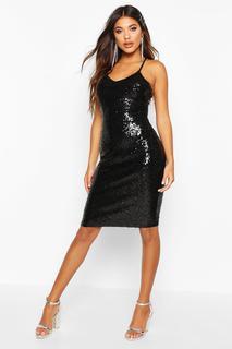 boohoo - Womens Sexy Sequin Strappy Midi Dress - Black - 14, Black