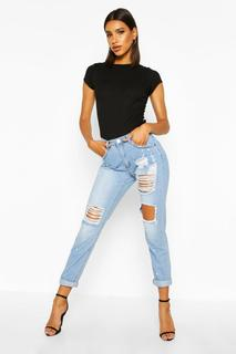 boohoo - Womens Mid Rise Relaxed Fit Open Knee Boyfriend Jeans - blue - 8, Blue