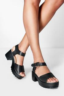 boohoo - Womens Peeptoe Two Part Cleated Sandals - black - 5, Black