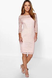 boohoo - Womens Petite Lace Bardot Midi Dress - Beige - 8, Beige