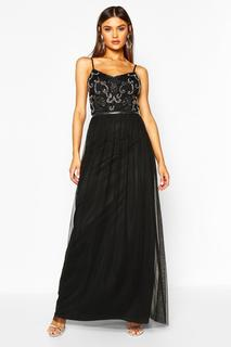 boohoo - Womens Boutique Embellished Prom Maxi Dress - Black - 8, Black