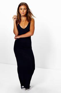 boohoo - Womens Petite Strappy Basic Maxi Dress - Navy - 4, Navy