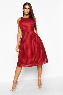 boohoo - Womens Boutique Panelled Full Skirt Skater Dress - Red - 14, Red