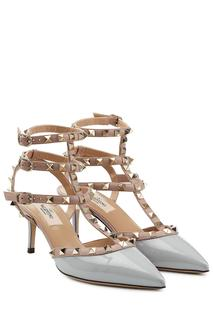 Valentino - Rockstud Patent Leather Kitten Heel Pumps