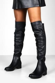 boohoo - Womens Overknee-Stiefel Mit Elastischer Rückseite - Schwarz - 36, Schwarz