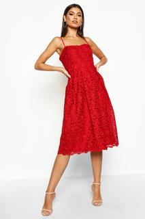 boohoo - Womens Boutique Embroidered Strappy Midi Skater Dress - 14, Red