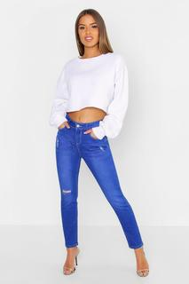 boohoo - Womens Petite Mid Rise Skinny Ripped Knee Jean - blue - 4, Blue