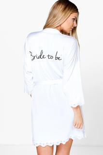 boohoo - Braut-Morgenmantel mit Slogan fließendes