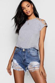 boohoo - Womens Basic Strappy Shoulder Detail T-Shirt - grey - 12, Grey
