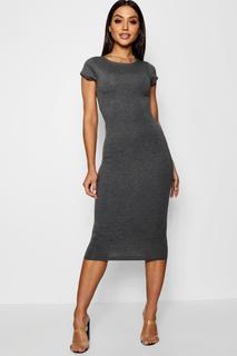 boohoo - Womens Cap Sleeve Jersey Bodycon Midi Dress - Grey - 14, Grey