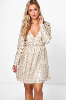 boohoo - Womens Plus Sequin Wrap Skater Dress - Metallics - 20, Metallics