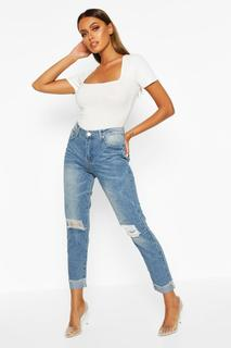 boohoo - Womens Mid Rise Marble Wash Mom Jeans - blue - 16, Blue