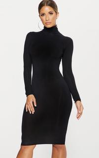 PrettyLittleThing - Basic Black Roll Neck Midi Dress, Black