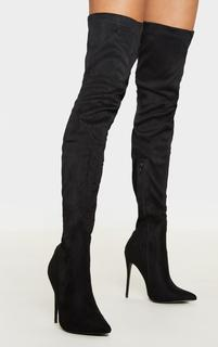 PrettyLittleThing - Emmi Black Faux Suede Extreme Thigh High Heeled Boots, Black
