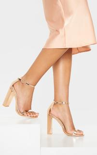 PrettyLittleThing - May Rose Gold Block Heeled Sandals, Pink