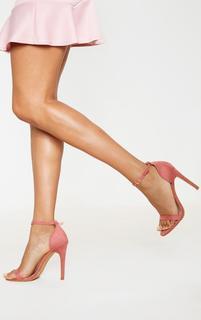 PrettyLittleThing - Clover Rose Pink Suede Strap Heeled Sandals, Pink
