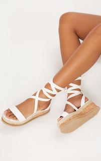PrettyLittleThing - Niella White Espadrille Flatform Sandals, White