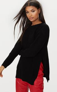 PrettyLittleThing - Black Round Neck Side Split Jumper, Black