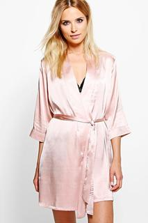 boohoo - Tie Kimono-Morgenmantel mit Taillenbindung