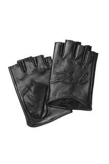 KARL LAGERFELD - Logo Embossed Fingerless Leather Gloves