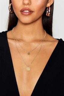 boohoo - Womens Triple Layer Coin Pendant Necklace - metallics - One Size, Metallics