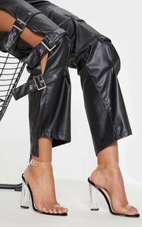 PrettyLittleThing - Black Clear Strap Heels, Black