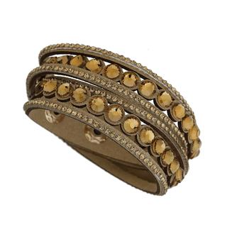 Apricot - Tan Faux Suede Gold Embellished Layered Cuff Bracelet