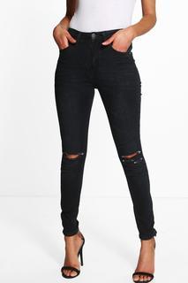 boohoo - Womens Petite High Waisted Skinny Jeans - black - 12, Black