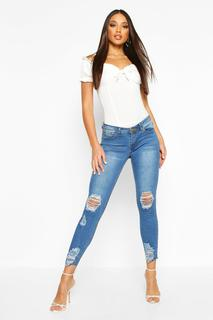 boohoo - Womens Mid Rise Distressed Knee And Ankle Skinny Jeans - blue - 12, Blue