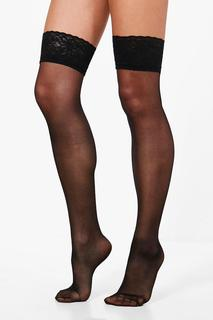boohoo - Womens Lace Top Stockings - black - One Size, Black