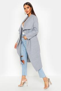 boohoo - Womens Mantel Mit Gürtel Und Wasserfallrevers - Grey - M/L, Grey