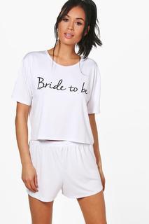 """boohoo - Zweiteiler aus Shorts und T-Shirt mit """"Bride to be""""-Motiv"""