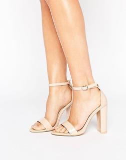 Glamorous - Sandalen mit Blockabsätzen in Lackoptik-Beige