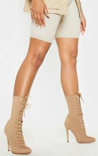 PrettyLittleThing - Mazy Nude Lace Up Sock Boots, Pink