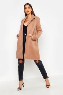 boohoo - Womens Eng Anliegender Mantel Mit Reißverschlusstasche - Kamelhaarfarben - 34, Kamelhaarfarben
