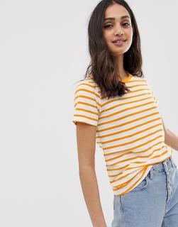 ASOS DESIGN - Gestreiftes T-Shirt mit Rundhalsausschnitt-Mehrfarbig