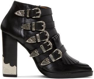 Toga Pulla - Black Heeled Five-buckle Western Boots